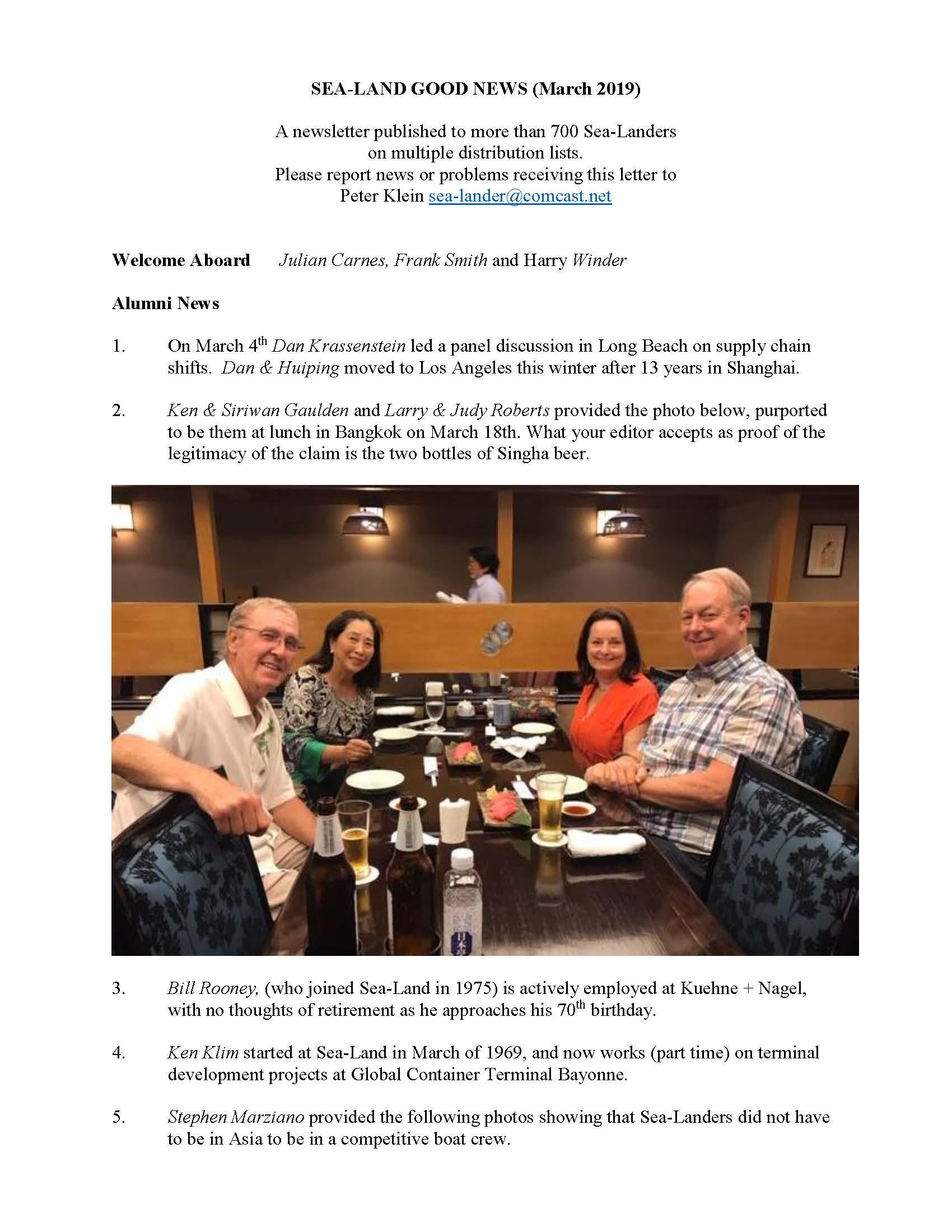 Sea-Land Good Alumni News (March 2019) Peter Klein – Silk